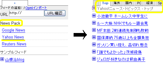 「Feed Tabs Reader」サンプル4